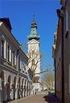 Wieża katedralna widziana z ulicy Stanisława Staszica
