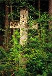 W drodze z Werchraty na Górę Brusno, w nieistniejącym przysiółku Stawki - krzyż z roku 1864