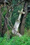 Krzyż z roku 1902, w nieistniejącym przysiółki w rejonie Werchraty Zającach. Stan przed renowacją