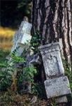 Krzyż bruśnieński na zabytkowym cmentarzu
