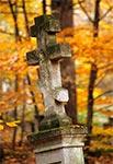Krzyż bruśnieński na zabytkowym cmentarzu w Starej Hucie