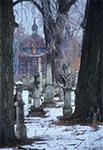 Cmentarz w Nowym Bruśnie, a w oddali cerkiew na samym początku renowacji, czyli bardzo dawno temu