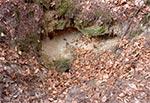 To wejście do sztolni było już niemal całkowicie zasypane, w wyniku zsuwania się gleby i wyglądało tak jak widzicie. Po mozolnym odkopaniu okazało się jednak, że wewnątrz nastąpił zawał i strop opadł. Pozostała na tyle wąska przestrzeń, że dalej przecisnąć się nie da, chociaż chodnik dalej może być drożny