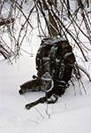Schronienie w lesie koło koryta na Dahanach, podczas śnieżycy