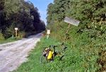 Na skraju Puszczy Solskiej - droga z Olchowca do Borowca. Rower oparty o słupek z zachowaną oryginalną tabliczką, ze śladami po ćwiczeniach strzeleckich ;)