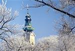 Katedra Zamojska podczas siarczystego mrozu - zdjęcie z czasów kiedy była kolegiatą