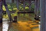 Drewniany most na Tanwi przed Szostakami. Po lewej widać fragement drewnianej konstrukcji do rozbijania kry spływającej na przedwiośniu, w celu ochrony drewnanych filarów mostu.