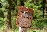 Tabliczka PKS-u przy leśniczówce Zielone