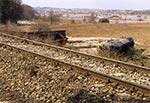 Tak daleko od torowiska znalazła się lokomotywa